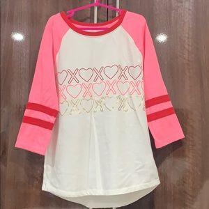 Valentine's Day xoxo 3 quarter sleeved shirt